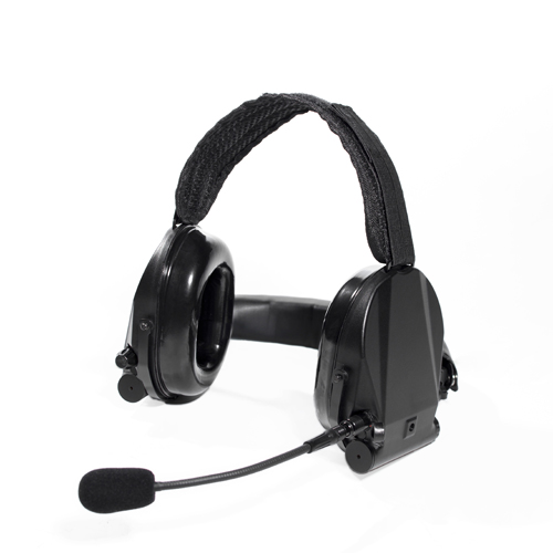 Neckband noise-cancelling headset with hearing protection and talk-through