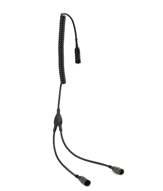 Y-cable connectors for military helmet hearing protection